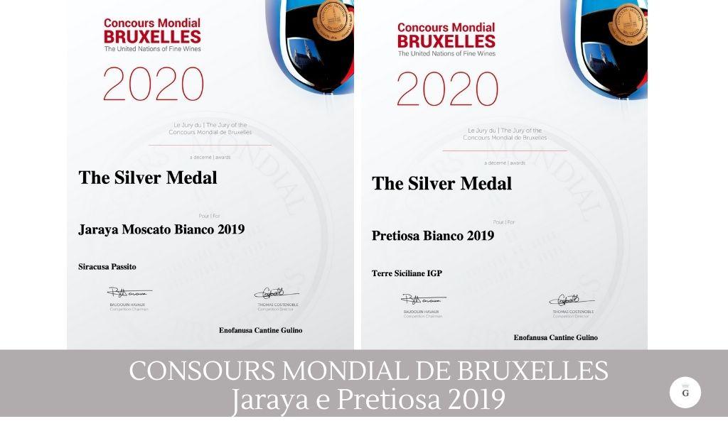 Concours Mondial de Bruxelles- Medaglia d'argento a Jaraya e Pretiosa - Cantine Gulino